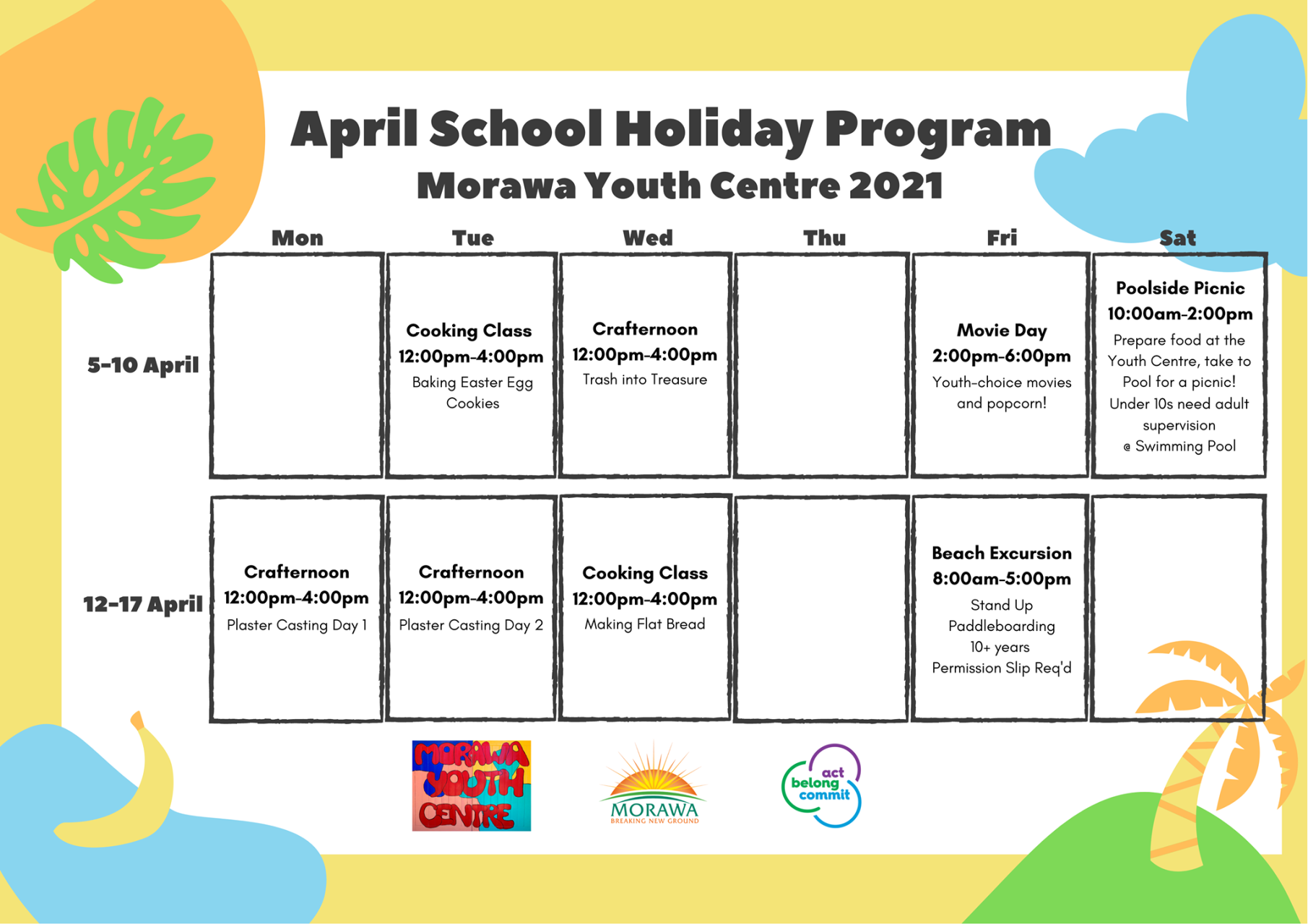 April 2021 Youth Centre School Holiday Program
