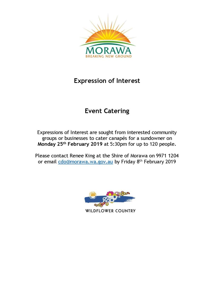 EOI Catering Wanted