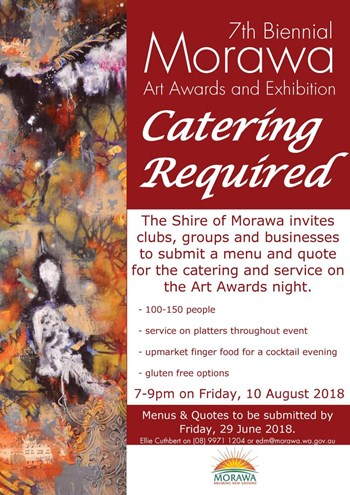 Catering Call Out for Morawa Art Awards Opening Night