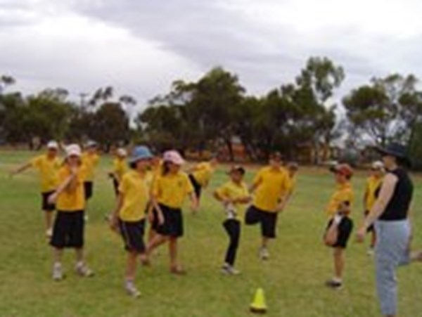 School children warming up