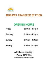 Morawa Transfer Station Opening Hours